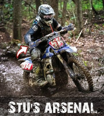 Stu Baylor in wet conditions using the G2 400 Cam to with his Yamaha YZ450